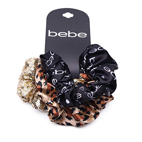 (bebe Set of 3 Assorted Scrunchie Set for Women and Girls)