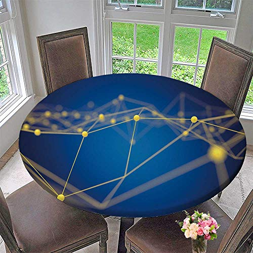 PINAFORE HOME Modern Table Cloth fintech Technology and Blockchain Network Concept Indoor or Outdoor Parties 67