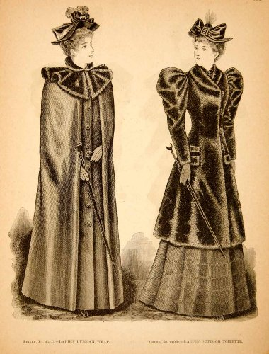 1893 Wood Engraving Fashion Women Victorian Russian Wrap Outdoor Toilette Dress - Original In-Text Wood Engraving from PeriodPaper LLC-Collectible Original Print Archive