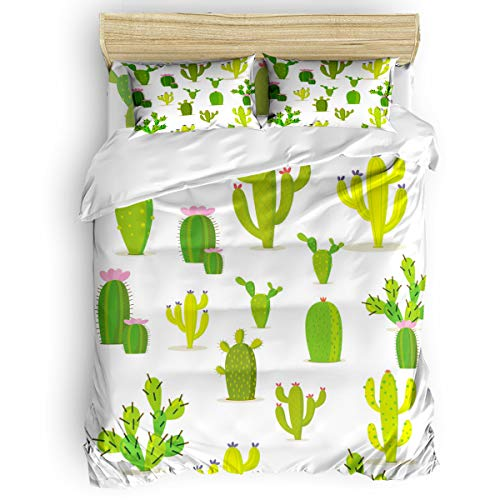 Headboard Personalized Kids Twin - Arts Language Home Duvet Cover Set Twin Size for Kids/Adults/Teens Personalized Illustrator Cactus Flower Soft 4 Pcs Bedding Set with Duvet Cover, Fitted Sheet, Pillowcases
