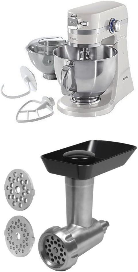 AEG KM4100 - Robot de cocina con motor de 1.4 caballos de potencia, color blanco + AEG AUM MG - Accesorio picador de carne
