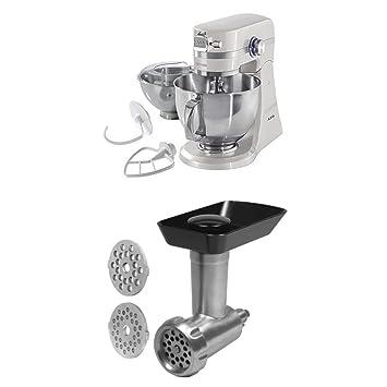 AEG KM4100 - Robot de cocina con motor de 1.4 caballos de potencia, color blanco + AEG AUM MG - Accesorio picador de carne: Amazon.es: Hogar