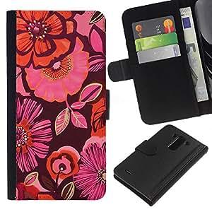 iBinBang / Flip Funda de Cuero Case Cover - Modelo del papel pintado púrpura melocotón rosa - LG Optimus G3