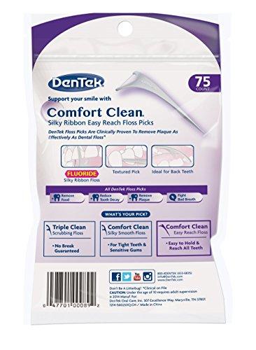 Dentek Comfort Clean Floss Picks | Silky Ribbon Floss to Remove Food & Plaque | 75 Picks | Pack of 6 by DenTek (Image #1)