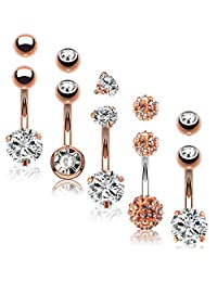 BodyJ4You 5PCS Belly Button Rings 14G Stainless Steel CZ Girl Women Navel 5 Replacement Balls Pack