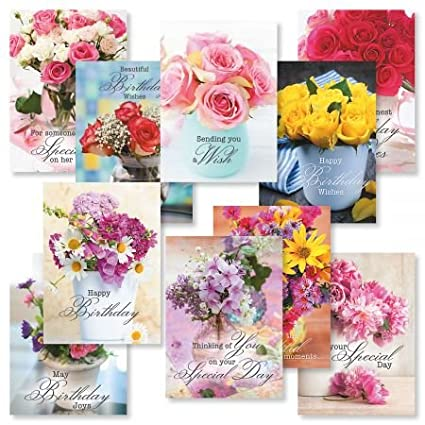 Floral Bouquets Birthday Greeting Card Value Pack