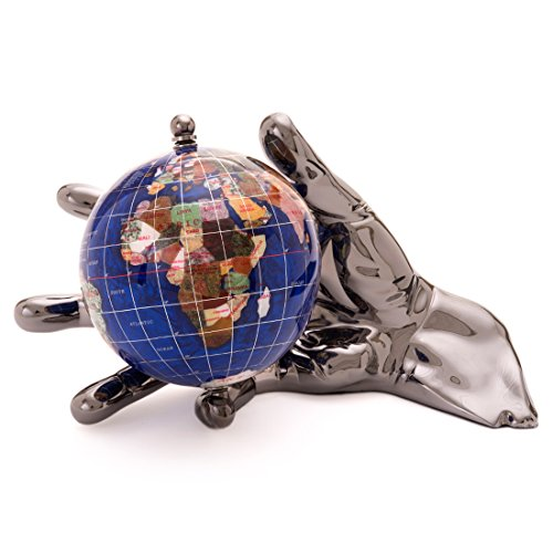 Alexander Kalifano Ocean Embraced with Silver Gunmetal World in Your Hand Gemstone Globe, 4