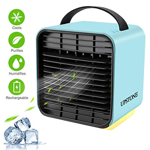 UPSTONE Portable Air Conditioner Fan, Personal Space Air Cooler Desk Fan Mini Evaporative Cooler Purifier Table Fan USB Rechargeable Fan with Handle and Night Light for Home Room Office Dorm, Blue (Best Evaporative Air Conditioner)