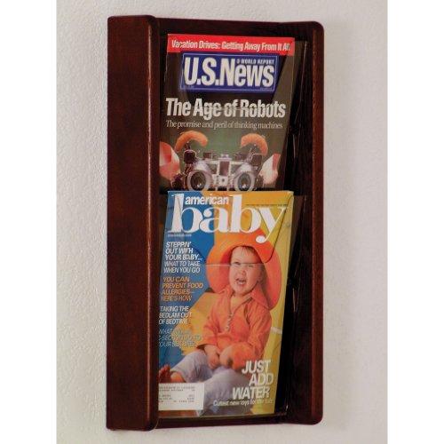 DMD Literature Display, 2 Pocket, Solid Oak and Acrylic Wall Mount Rack, Mahogany Wood Finish