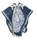 Authentic Mexican Poncho Reversible Cobija Blanket - Aztec Calendar (Denim Blue/White)