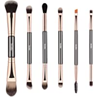 Double Ended Makeup Brushes, 6pcs Mutipurpose Cosmetic Brush Set For for Eyeshadow Blending Powder Foundation Buffer Black