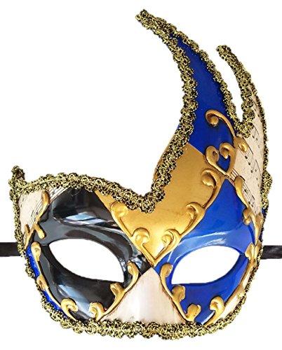 (Coolwife Men's Masquerade Mask Vintage Venetian Checkered Musical Party Mardi Gras Mask (Surrounding Blue))