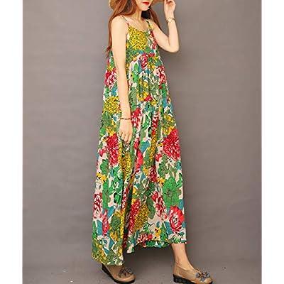 YESNO Women Casual Loose Bohemian Floral Print Empire Waist Spaghetti Strap Long Maxi Summer Beach Swing Dress XS-5X E75 at Women's Clothing store
