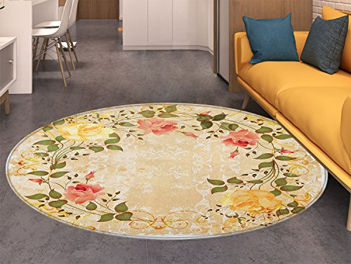 Vintage Round Area Rug Oval Shape Floral Crown with Leaves and Roses over Damask Motif Shabby Boho Indoor/Outdoor Round Area Rug Yellow Green Pink