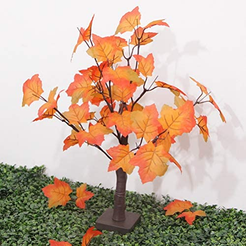 24heads Lighted Artificial Fall Maple Tree Battery Operated Tabletop Autumn Tree For Home Festival Decoration Warm