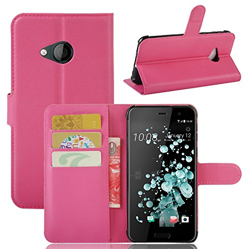 Price comparison product image Happon HTC U Play Wallet Case,  Stylish Slim PU Leather Man Stand and Card Holders Wallet Phone Cover Protective shell Protective Case for HTC U Play -Hot pink