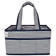 Little Grey Rabbit Premium Baby Diaper Caddy | Nursery Storage Bin & Organizer Basket for Infant Items | Holds Diapers, Lotions, Wipes, & More | Perfect Baby Shower Gift | Navy & White Stripe