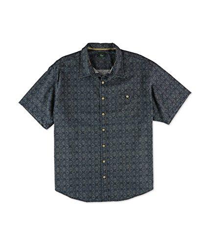 G.H. Bass & Co. Men's Big and Tall Short Sleeve Beach Prints Homespun Shirt