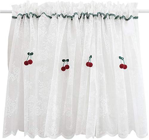 GSKB レースカーテン ホワイト カフェカーテン 可愛い 目隠し シンプル キッチンハーフカーテン 刺繍 小窓カーテン 北欧 田園風 ショートカーテン