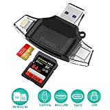 Card Reader,BOMAX SD Micro Card Reader Portable SD Card Reader Tf Card Reader & USB C Micro SD Card Adapter Computer iPhone iPad Galaxy S8 Android Mac Lightning Micro USB 3.0 Connector