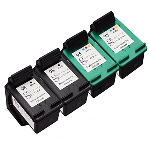 Sophia Global Remanufactured Ink Cartridge Replacement for HP 98 and HP 95 (2 Black, 2 Color) (95 98 Hp Ink Cartridge)