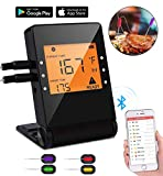 Wiw Digital Bluetooth Meat Thermometer,Wireless Remote Cooking Food Grill Thermometer with 4 Stainless Steel Probes for instant read BBQ Grilling, Kitchen Cooking and Smokers Thermometer, Black