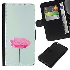 KLONGSHOP // Tirón de la caja Cartera de cuero con ranuras para tarjetas - Flor minimalista Rosa Verde Luz - HTC DESIRE 816 //