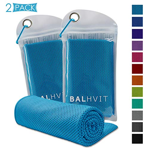Balhvit 2 Pack Instant Relief Cooling Towel, Ice Towel, Microfiber Towel, Use as Chilly Neck Headband Bandana Scarf, Cool Cold Towels for Yoga Beach Travel Sports Running Camping