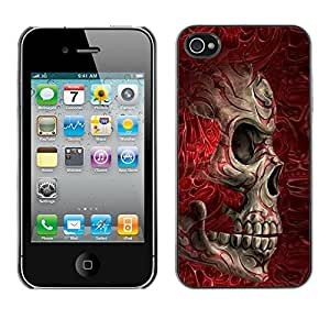 Shell-Star Arte & diseño plástico duro Fundas Cover Cubre Hard Case Cover para Apple iPhone 4 / iPhone 4S / 4S ( Red Blood Skull Bones Death Biker )