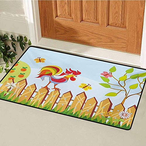 (GUUVOR Farmland Universal Door mat Border with Rooster Tree Butterfly and Flowers in Summer Kids Cartoon Farm Print Door mat Floor Decoration W29.5 x L39.4 Inch Multicolor )