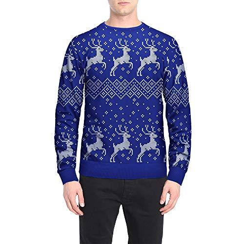 LisYOU F Men Autumn Winter Christmas Printing Top Men's Long-Sleeved T-Shirt Blouse (XXL, C-Blue)