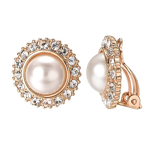 Yoursfs Clip earring Ivory pearl Round Earrings no Pierced Clip on Earrings for