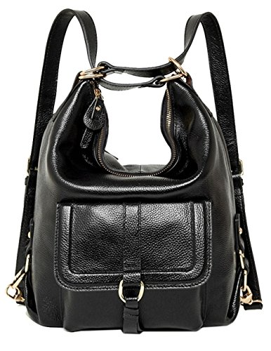 Fashion Black Womenss Backpack for amp; school Backpack Geniune Leather Black qtqwAxnOz
