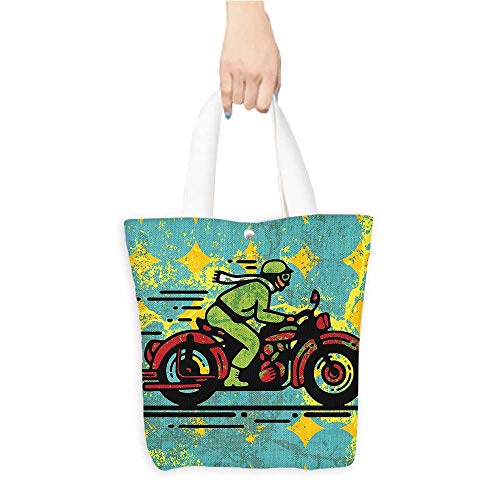 (Canvas Tote Bag Young Man with Vintage Motorbike Grunge Distressed Dirty Featured Funky Perfect for Shopping, Laptop W16.5 x H14 x D7)