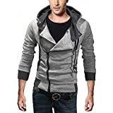 DJT Men's Oblique Zipper Hoodie Casual Top Coat Slim Fit Jacket Light Grey S