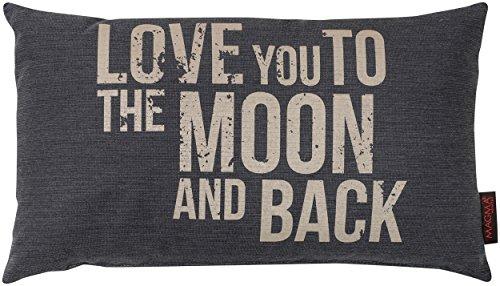 Zierkissen Emotion 30x50 cm Love you to the moon... aus der Serie Zitate Emotion im angesagten Siebdruck (kuschelig gefüllt) Farbe 007 Anthrazit