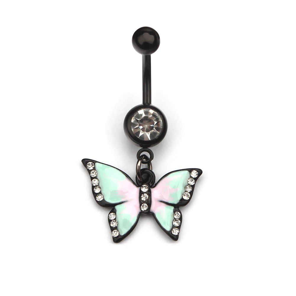 Sumanee New 1pc Body Jewelry Piercing Butterfly Dangle Navel Animal Belly Button Ring