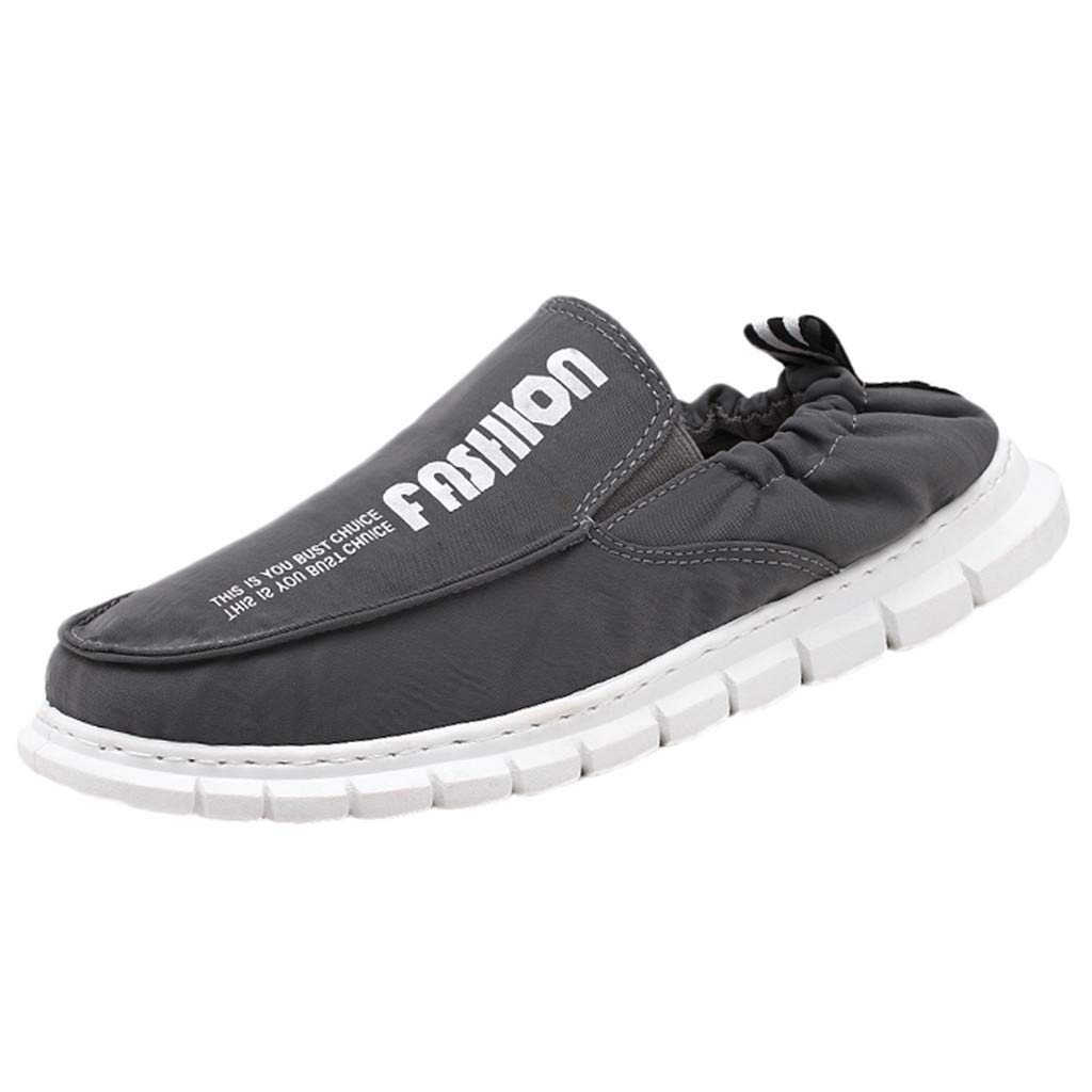 〓COOlCCI〓Men's Loafers & Slip-Ons, Active Fashion Sneaker,Men's Slip-on Loafer,Low Canvas Flats Shoes Driving Shoes Gray