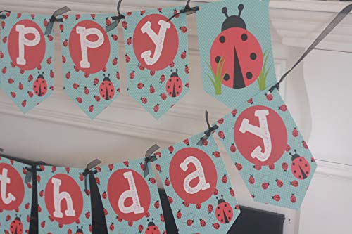 Ladybugs Banner Flag (Happy Birthday Ladybug Lady Bug Red Blue Pennant Flag Theme Banner - Matching Items Avail - Signs, Favor Tags, Cupcake Toppers etc.)