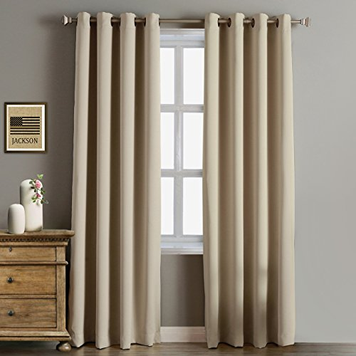 RHF Blackout Thermal Insulated Curtain - Antique Bronze Grommet Top for bedroom or living room 52W by 84L Inches-Beige