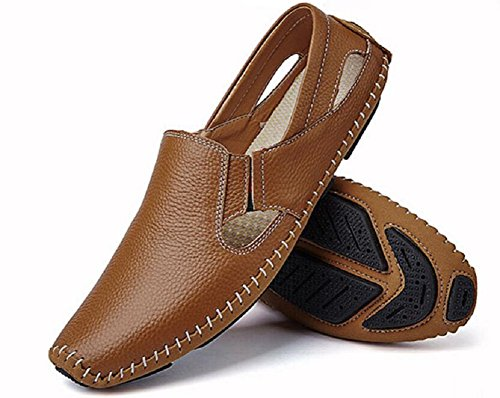Mens Genuine Leather Loafer Shoes Slip On Walking Driving Shoes by JiYe Brown oyHMWuCb