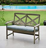 Cambridge-Casual 141133BLU West Lake 4′ Bench with Seat Pad, Weathered Grey With Spruce Blue