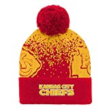 Outerstuff NFL Kansas City Chiefs Youth Boys Gradient Jacquard Cuffed Knit Hat Red, Youth One Size