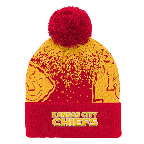 Outerstuff NFL Kansas City Chiefs Youth Boys Gradient Jacquard Cuffed Knit Hat Red, Youth One ()