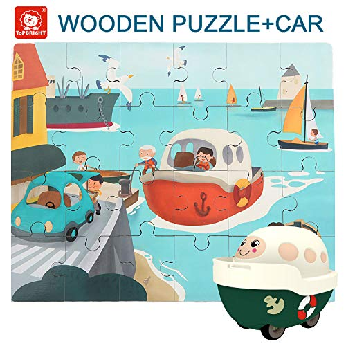 TOP BRIGHT Floor Puzzles for Kids , 24 Pieces Puzzles for Kids Cars , Educational Puzzles for Toddler-Steamship