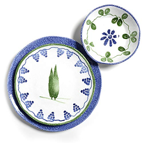 Tuscan Dinnerware Set - Deep Blue & Olive Green Charger, Dinner Plate & Soup Bowl from the Toscana Collection - Rustic Tuscan Kitchen Décor, Country Rustic Dinnerware Hand Painted & Handmade in Italy
