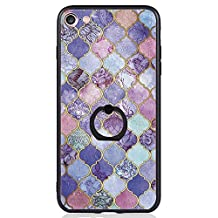 iPhone 7 Case, SwiftBox Clear Black Design Built-in Ring Kickstand Coated Premium Non Slip Surface Case for iPhone 7 with Tempered Glass Screen Protector (Purple)