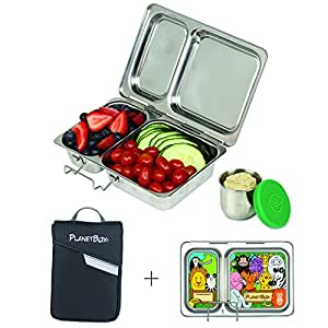 PlanetBox SHUTTLE Eco-Friendly Stainless Steel Bento Lunch Box with 2 Compartments for Adults and Kids - Black Carry Bag with Wild Animals Magnets