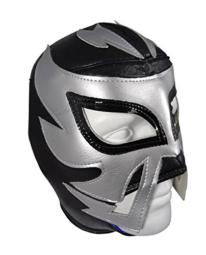 [RAYMAN Adult Lucha Libre Wrestling Mask (pro-fit) Costume Wear - Black/Silver] (Wwe Wrestling Costumes For Adults)