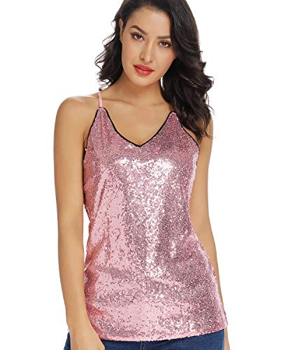(MS STYLE Sleeveless Sequin Tops for Women Sparkle V-Neck Sexy Club Cami Vest Party Tank Tops Camisole Pink)
